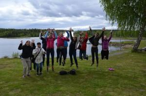 """Åh så var vi """"äntligen""""  i mål vid Storforsen! Foto: Runi Wold, Skiproam"""