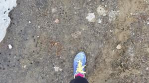 Då jag inte kan springa på hårt underlag, fick jag leta backe i sydläge. Lite lerigt. Tur man har broddar:)
